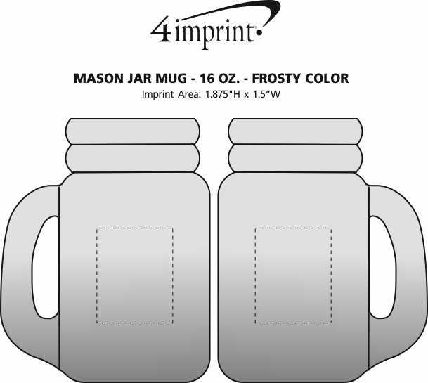Imprint Area of Mason Jar Mug - 16 oz. - Frosty Color