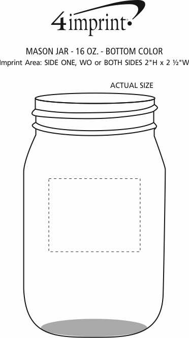 Imprint Area of Mason Jar - 16 oz. - Bottom Color