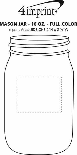 Imprint Area of Mason Jar - 16 oz. - Full Color