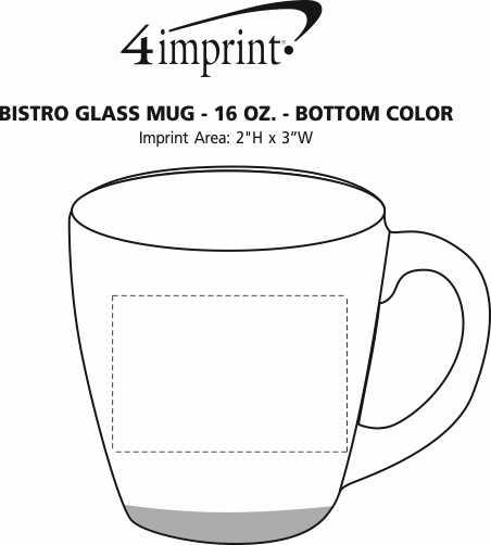 Imprint Area of Bistro Glass Mug - 16 oz. - Bottom Color