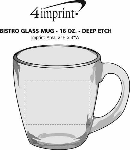 Imprint Area of Bistro Glass Mug - 16 oz. - Deep Etch
