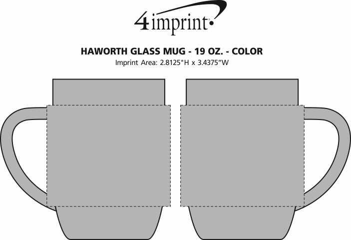 Imprint Area of Haworth Glass Mug - 19 oz. - Color