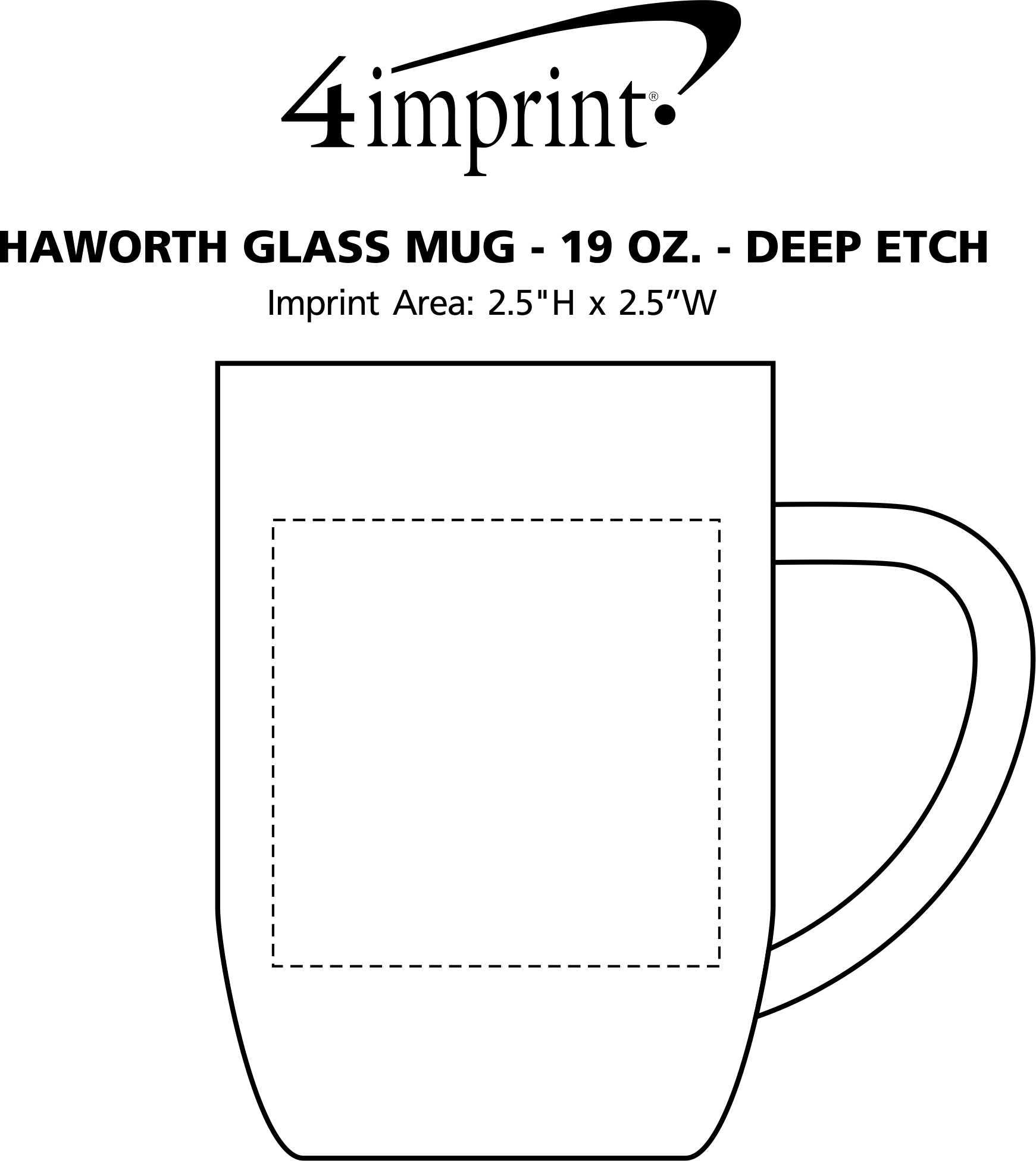 Imprint Area of Haworth Glass Mug - 19 oz. - Deep Etch