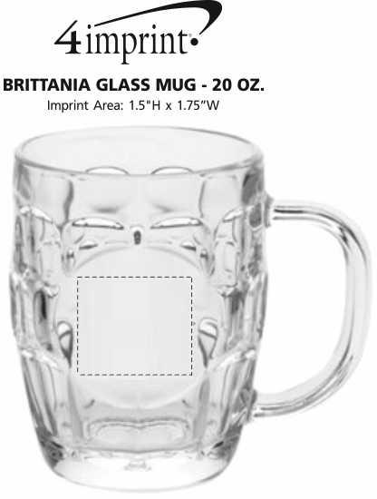 Imprint Area of Brittania Glass Mug - 20 oz.