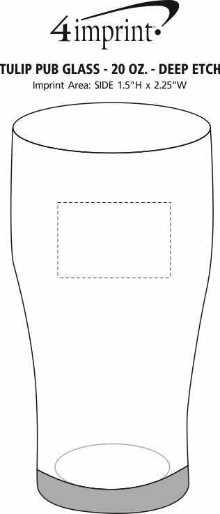 Imprint Area of Tulip Pub Glass - 20 oz. - Deep Etch