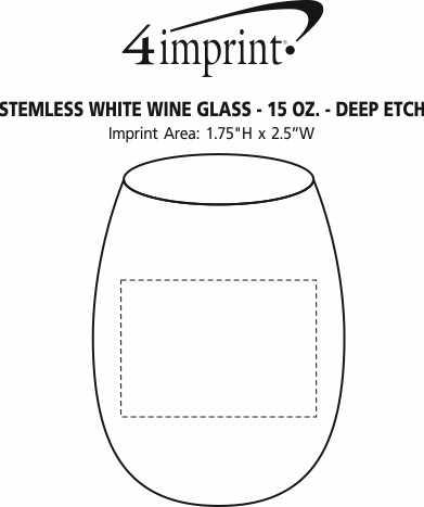 Imprint Area of Stemless White Wine Glass - 15 oz. - Deep Etch