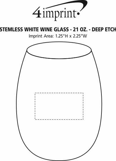 Imprint Area of Stemless White Wine Glass - 21 oz. - Deep Etch