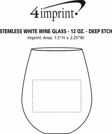 Imprint Area of Stemless White Wine Glass - 12 oz. - Deep Etch