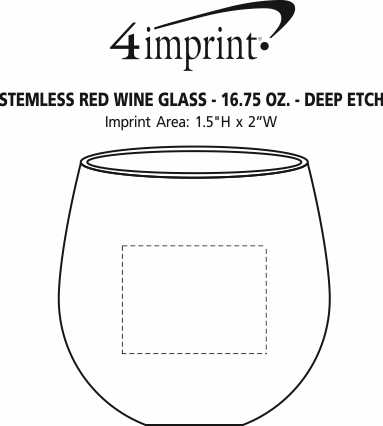 Imprint Area of Stemless Red Wine Glass - 16.75 oz. - Deep Etch