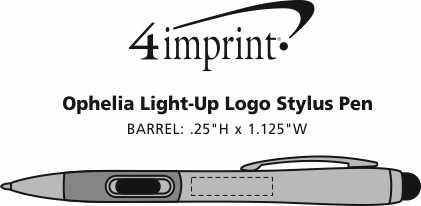 Imprint Area of Ophelia Light-Up Logo Stylus Pen