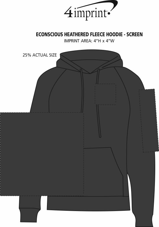 Imprint Area of Econscious Heathered Fleece Hoodie - Screen