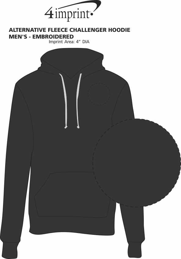 Imprint Area of Alternative Fleece Challenger Hoodie - Men's - Embroidered