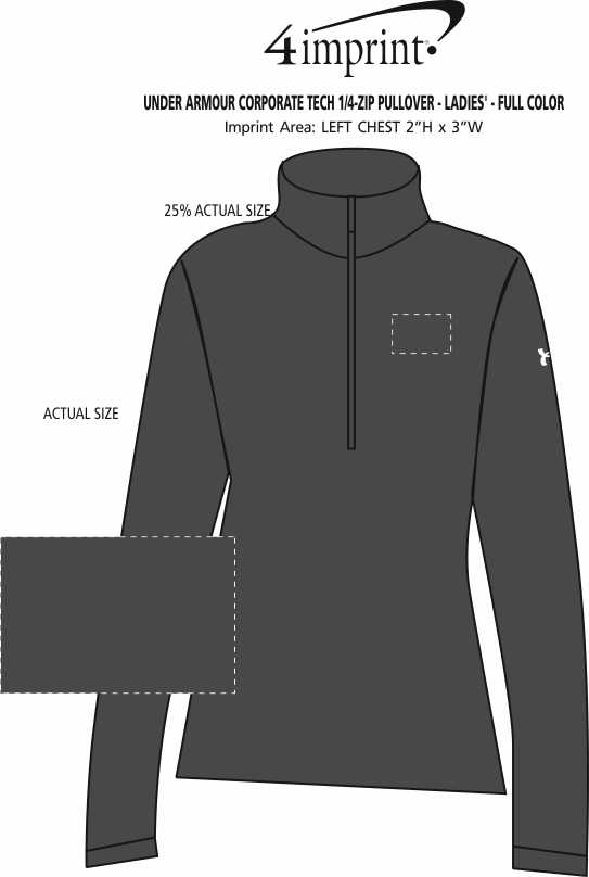 Imprint Area of Under Armour Corporate Tech 1/4-Zip Pullover - Ladies' - Full Color