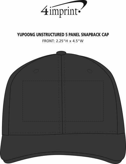 Imprint Area of Yupoong Unstructured 5 Panel Snapback Cap