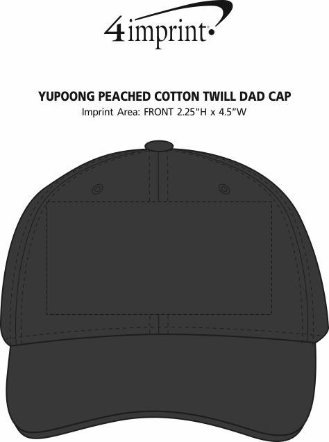 Imprint Area of Yupoong Peached Cotton Twill Dad Cap