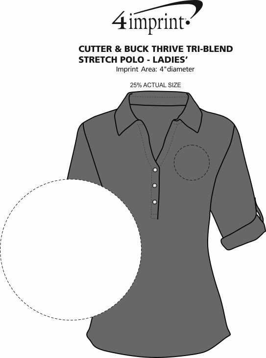 Imprint Area of Cutter & Buck Thrive Tri-Blend Stretch Polo - Ladies'