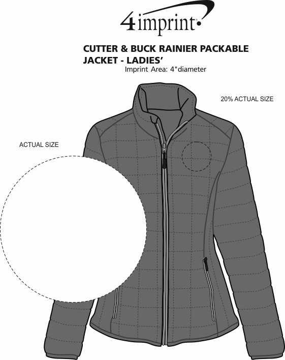 Imprint Area of Cutter & Buck Rainier Packable Jacket - Ladies'