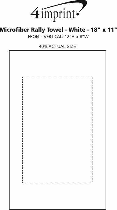 "Imprint Area of Microfiber Rally Towel - White - 18"" x 11"""