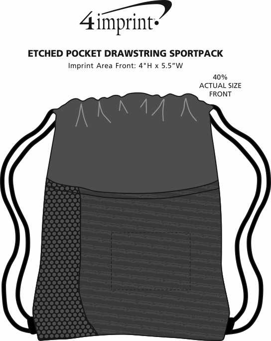 Imprint Area of Etched Pocket Drawstring Sportpack