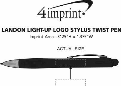 Imprint Area of Landon Light-Up Logo Stylus Twist Pen