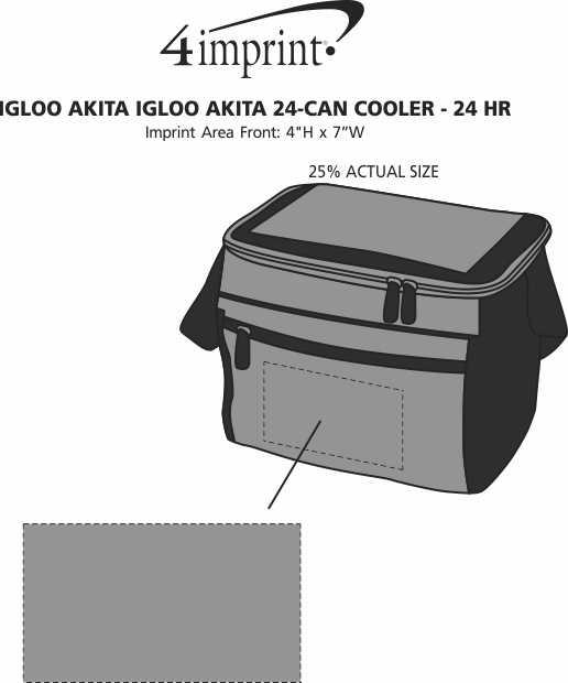 Imprint Area of Igloo Akita 24-Can Cooler - 24 hr