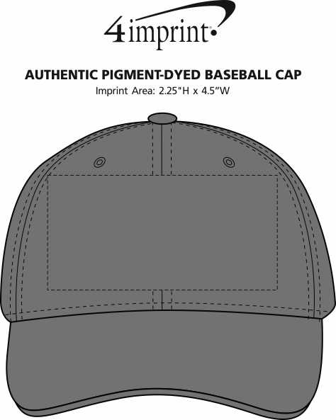 Imprint Area of Authentic Pigment Pigment-Dyed Baseball Cap