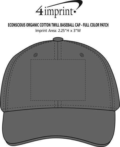 Imprint Area of Econscious Organic Cotton Twill Baseball Cap - Full Color Patch
