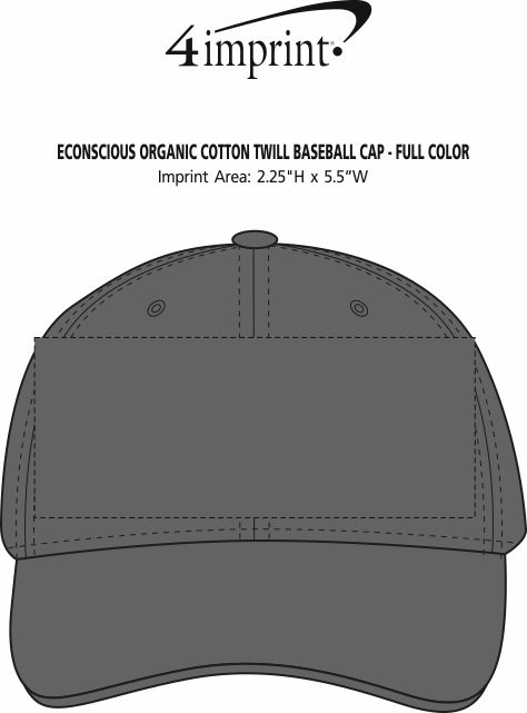 Imprint Area of Econscious Organic Cotton Twill Baseball Cap - Full Color
