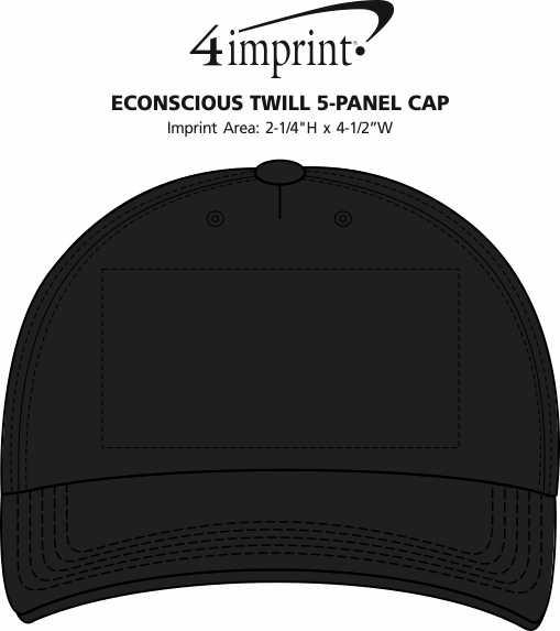 Imprint Area of Econscious Twill 5-Panel Cap