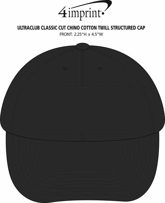 Imprint Area of UltraClub Classic Cut Chino Cotton Twill Structured Cap