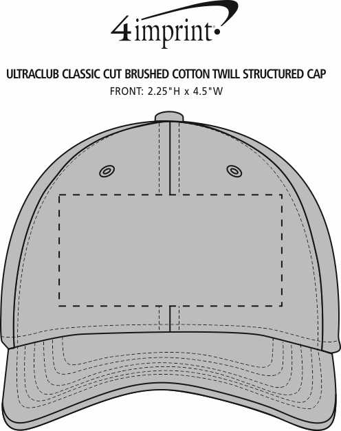 Imprint Area of UltraClub Classic Cut Brushed Cotton Twill Structured Cap