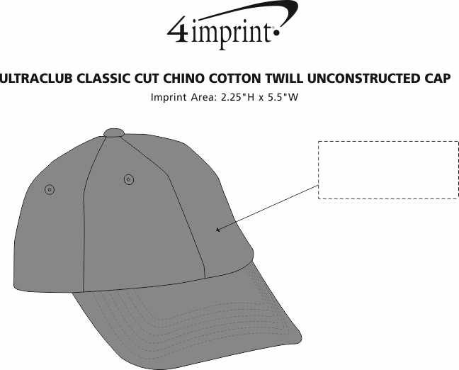 Imprint Area of UltraClub Classic Cut Chino Cotton Twill Unconstructed Cap
