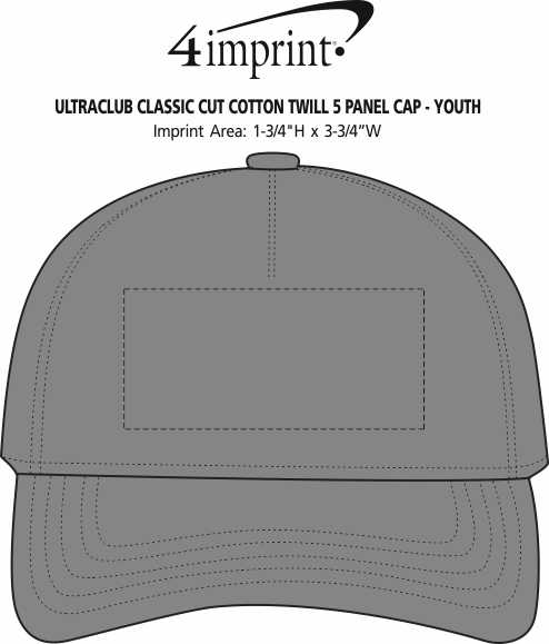 Imprint Area of UltraClub Classic Cut Cotton Twill 5 Panel Cap - Youth
