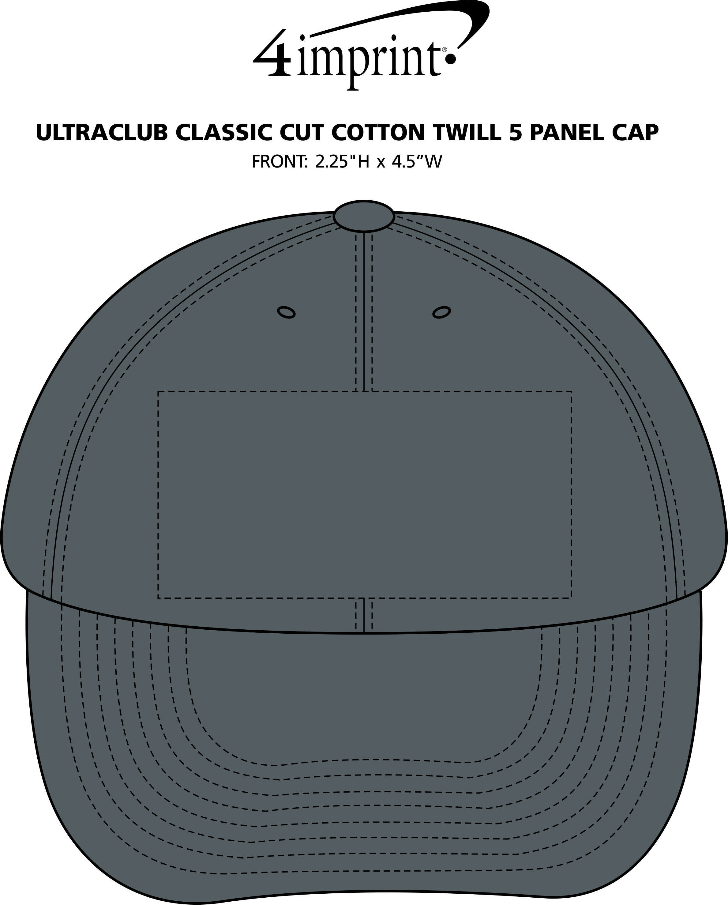 Imprint Area of UltraClub Classic Cut Cotton Twill 5 Panel Cap