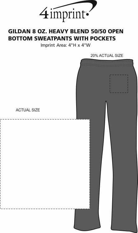 Imprint Area of Gildan 8 oz. Heavy Blend 50/50 Open Bottom Sweatpants with Pockets