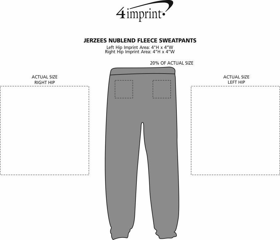 Imprint Area of Jerzees NuBlend Fleece Sweatpants