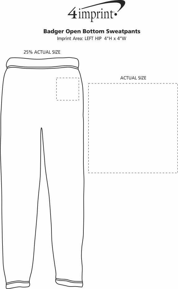 Imprint Area of Badger Open Bottom Sweatpants