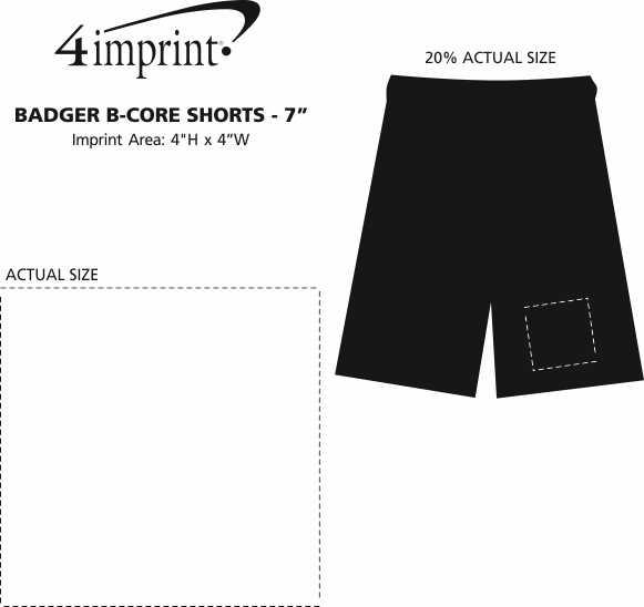 "Imprint Area of Badger B-Core Shorts - 7"""