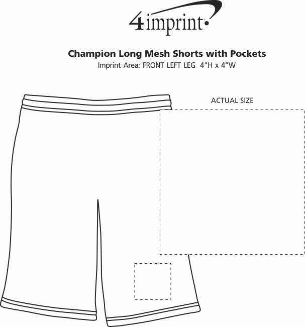 Imprint Area of Champion Long Mesh Shorts with Pockets