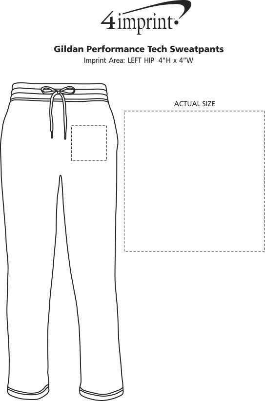 Imprint Area of Gildan Performance Tech Sweatpants