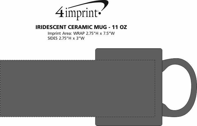 Imprint Area of Iridescent Ceramic Mug - 11 oz.