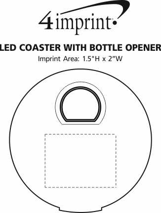 Imprint Area of LED Coaster with Bottle Opener