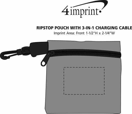 Imprint Area of Ripstop Pouch with 3-in-1 Charging Cable