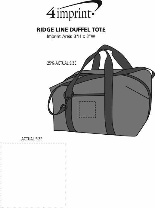Imprint Area of Ridge Line Duffel Tote