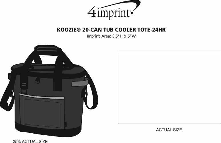 Imprint Area of Koozie® 20-Can Tub Kooler Tote - 24 hr
