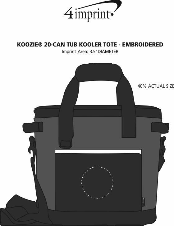 Imprint Area of Koozie® 20-Can Tub Kooler Tote - Embroidered