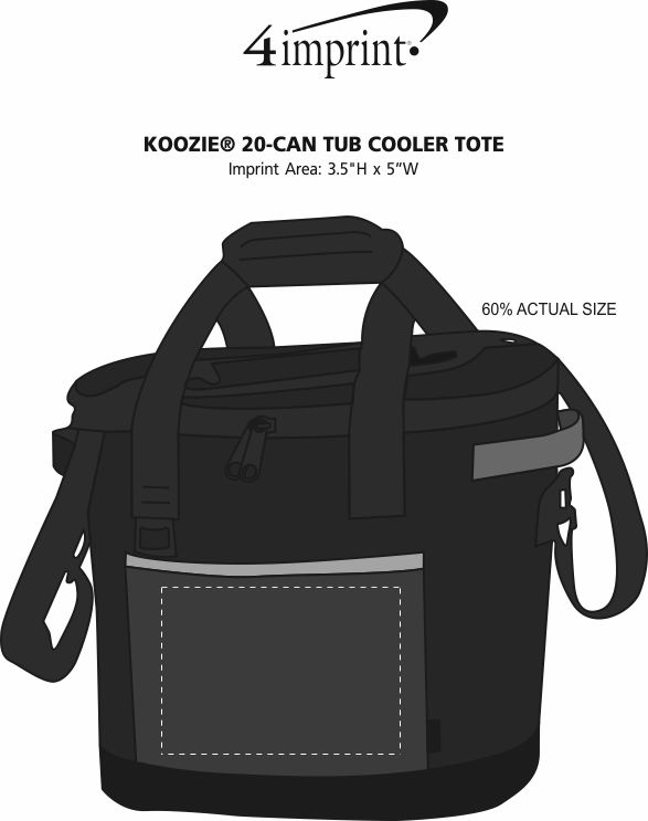 Imprint Area of Koozie® 20-Can Tub Kooler Tote