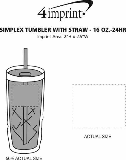 Imprint Area of Refresh Simplex Tumbler with Straw - 16 oz. - 24 hr