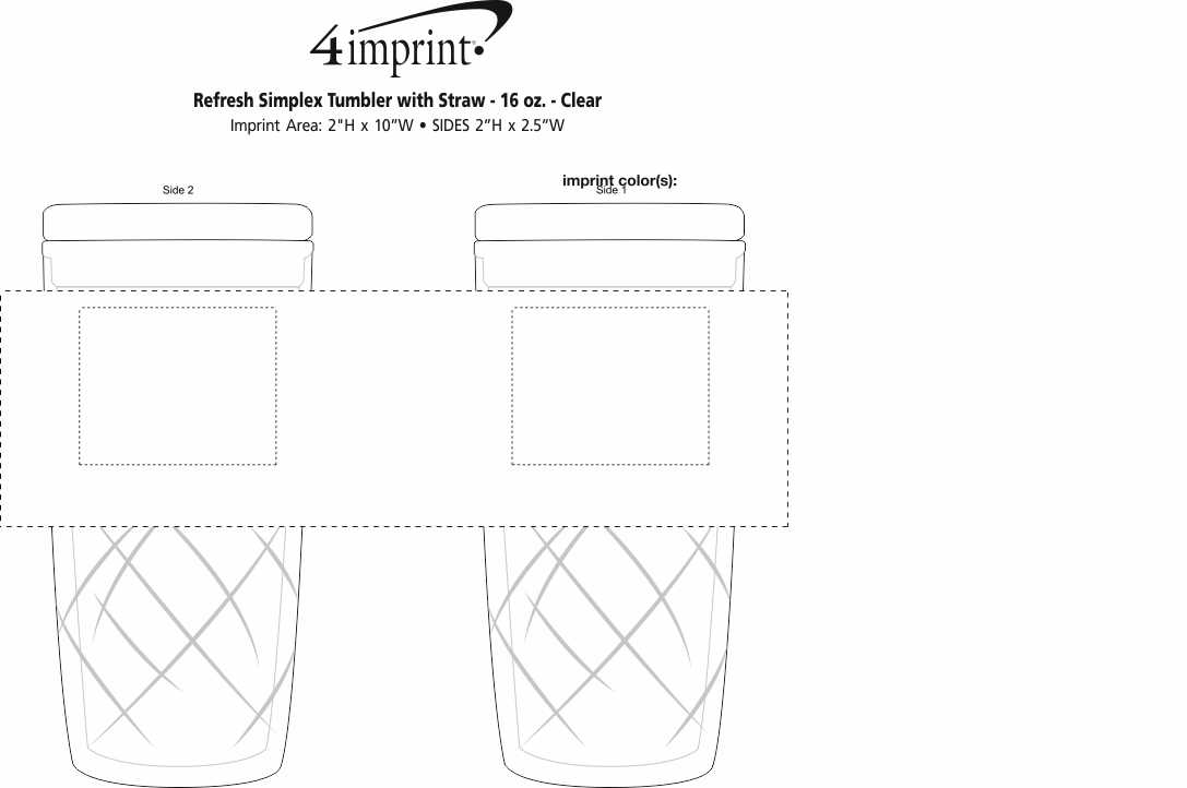 Imprint Area of Refresh Simplex Tumbler with Straw - 16 oz. - Clear