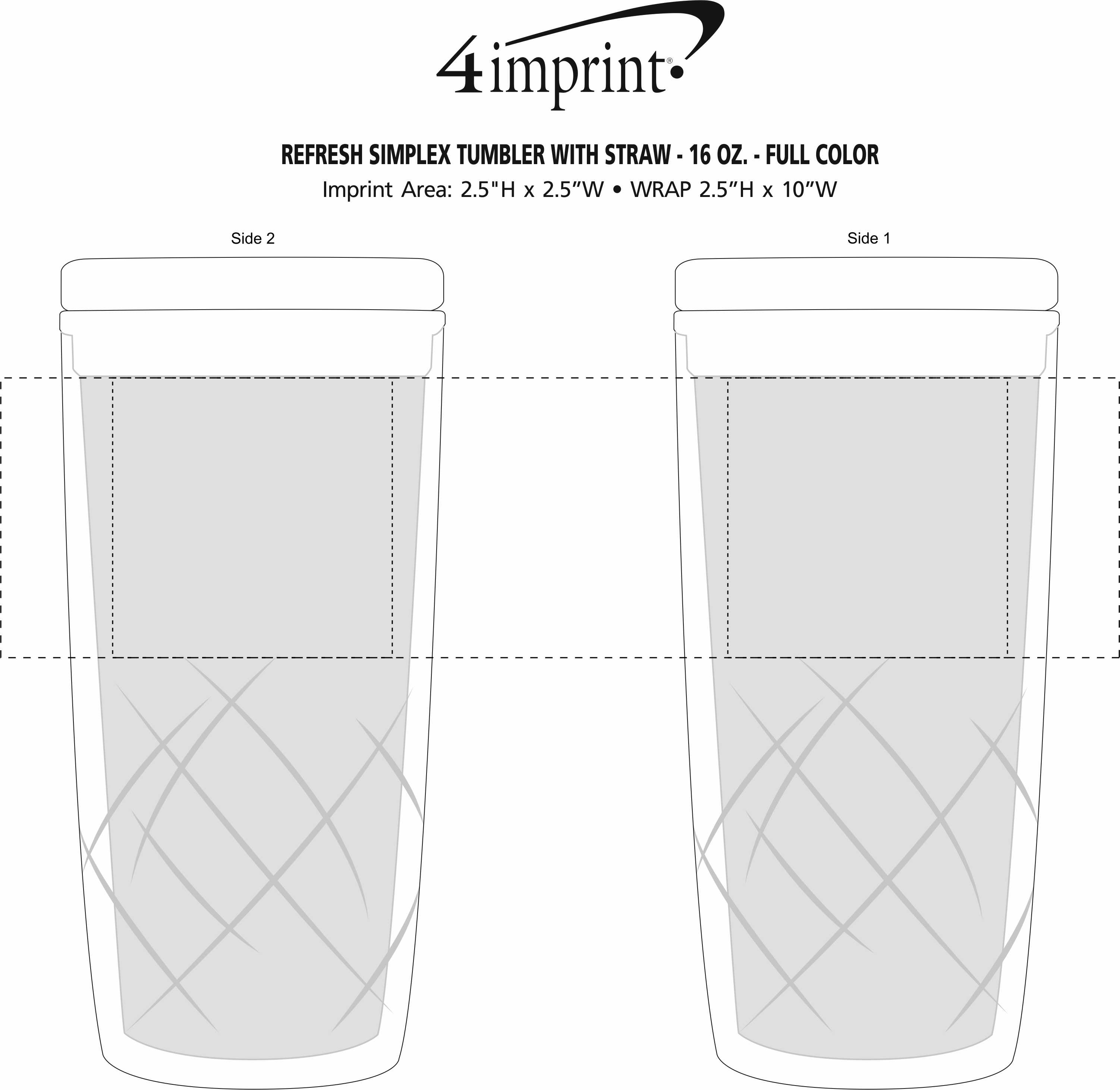 Imprint Area of Refresh Simplex Tumbler with Straw - 16 oz. - Full Color